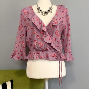 Express Purple Pink Floral Ruffle Cropped Wrap Top